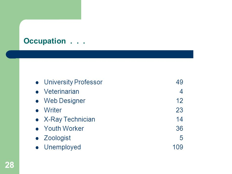 28 Occupation...