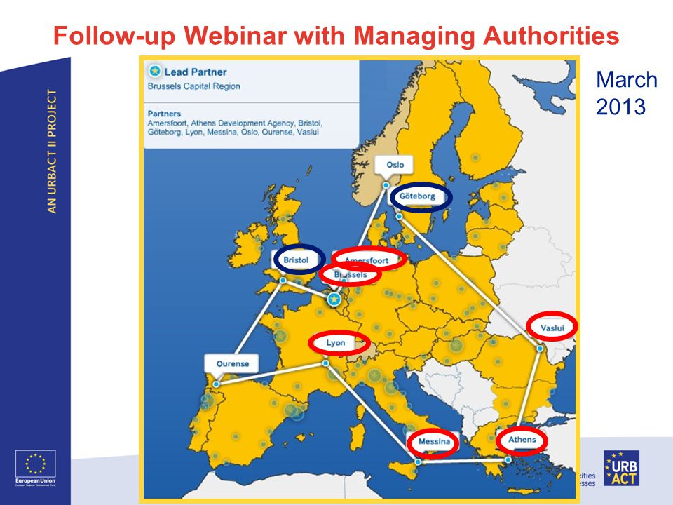 Follow-up Webinar with Managing Authorities Thematic Network Sustainable Food for Urban Communities – Kick-off 29 May 2012 I Page 16 March 2013