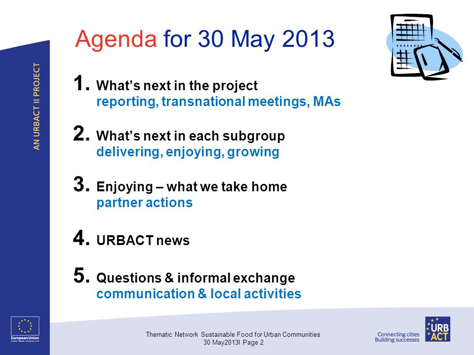 Agenda for 30 May 2013 1. Whats next in the project reporting, transnational meetings, MAs 2. Whats next in each subgroup delivering, enjoying, growin