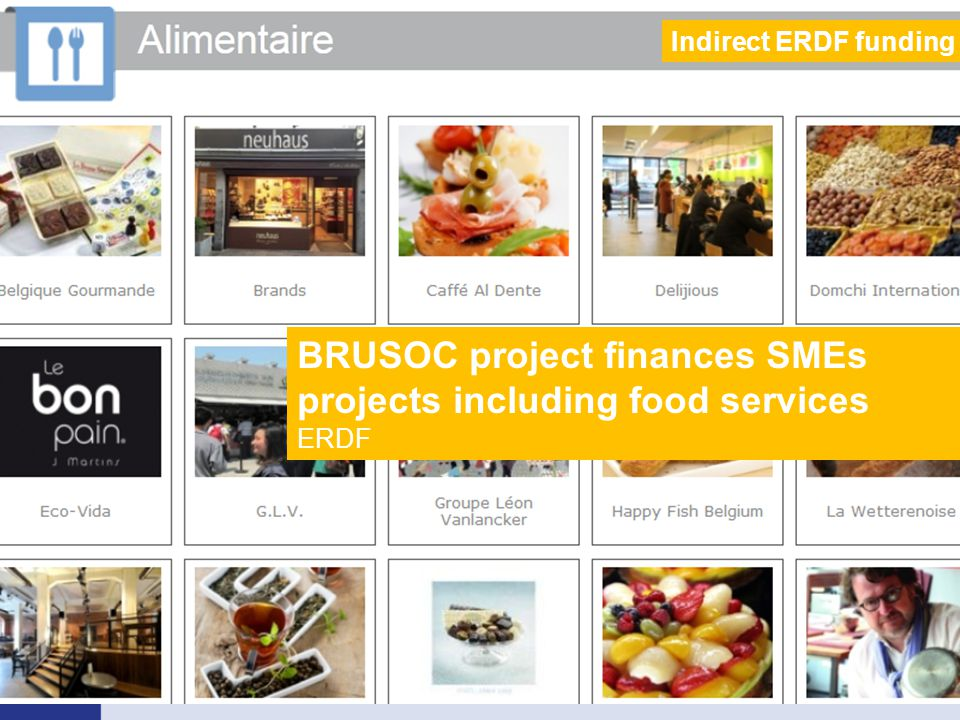 BRUSOC project finances SMEs projects including food services ERDF Indirect ERDF funding