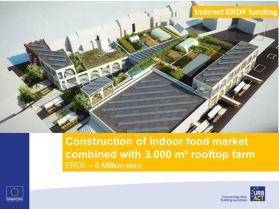 Construction of indoor food market combined with 3.000 m² rooftop farm ERDF – 6 Million euro Indirect ERDF funding