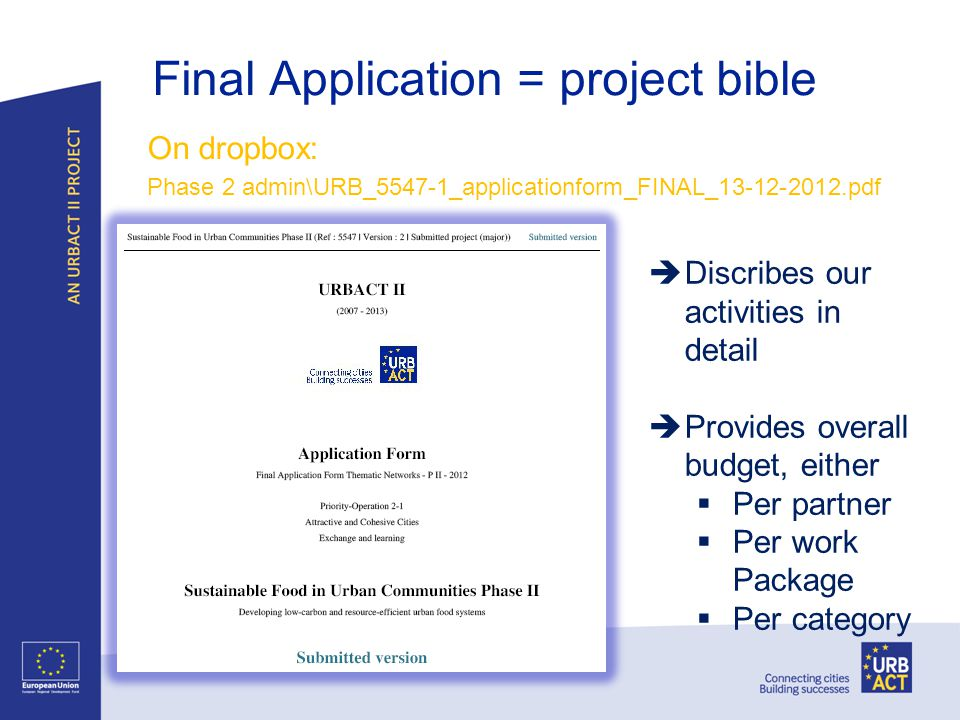 Final Application = project bible On dropbox: Phase 2 admin\URB_5547-1_applicationform_FINAL_13-12-2012.pdf Discribes our activities in detail Provide