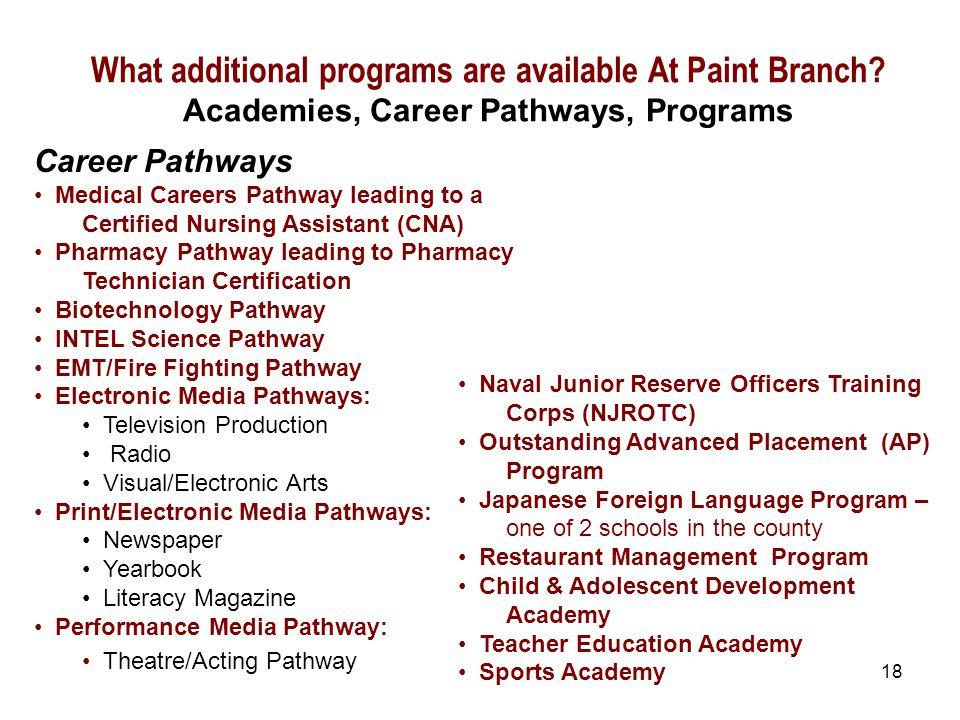 18 Career Pathways Medical Careers Pathway leading to a Certified Nursing Assistant (CNA) Pharmacy Pathway leading to Pharmacy Technician Certification Biotechnology Pathway INTEL Science Pathway EMT/Fire Fighting Pathway Electronic Media Pathways: Television Production Radio Visual/Electronic Arts Print/Electronic Media Pathways: Newspaper Yearbook Literacy Magazine Performance Media Pathway: Theatre/Acting Pathway What additional programs are available At Paint Branch.