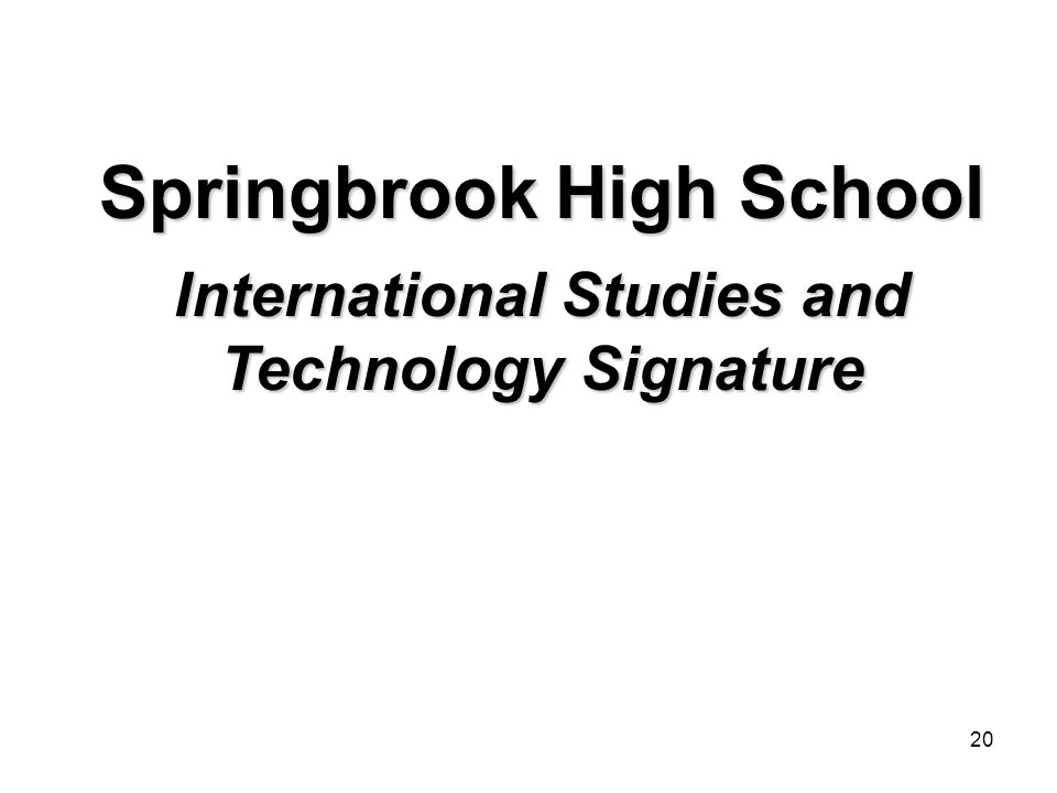 20 Springbrook High School International Studies and Technology Signature