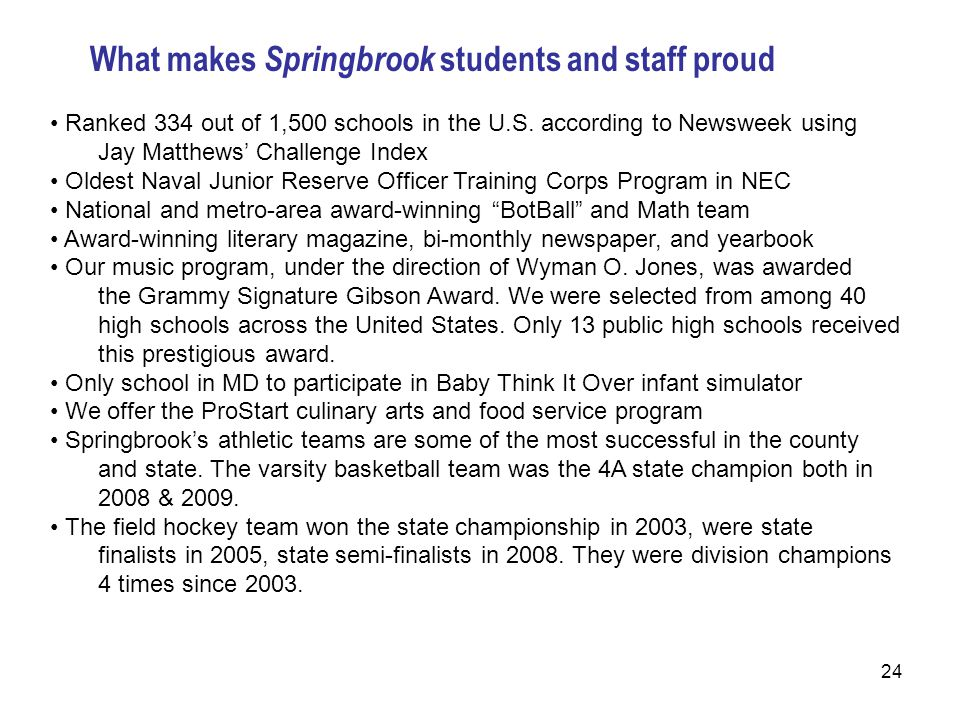 24 What makes Springbrook students and staff proud Ranked 334 out of 1,500 schools in the U.S.