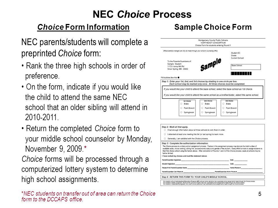 5 NEC Choice Process Sample Choice Form NEC parents/students will complete a preprinted Choice form: Rank the three high schools in order of preference.