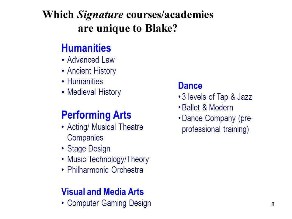 8 Which Signature courses/academies are unique to Blake.