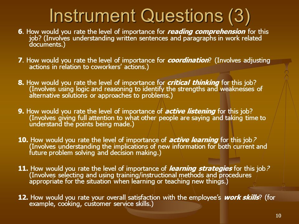 10 Instrument Questions (3) 6.