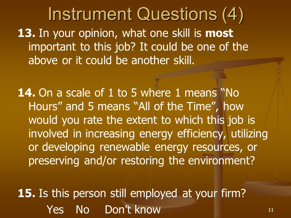 11 Instrument Questions (4) 13. In your opinion, what one skill is most important to this job.