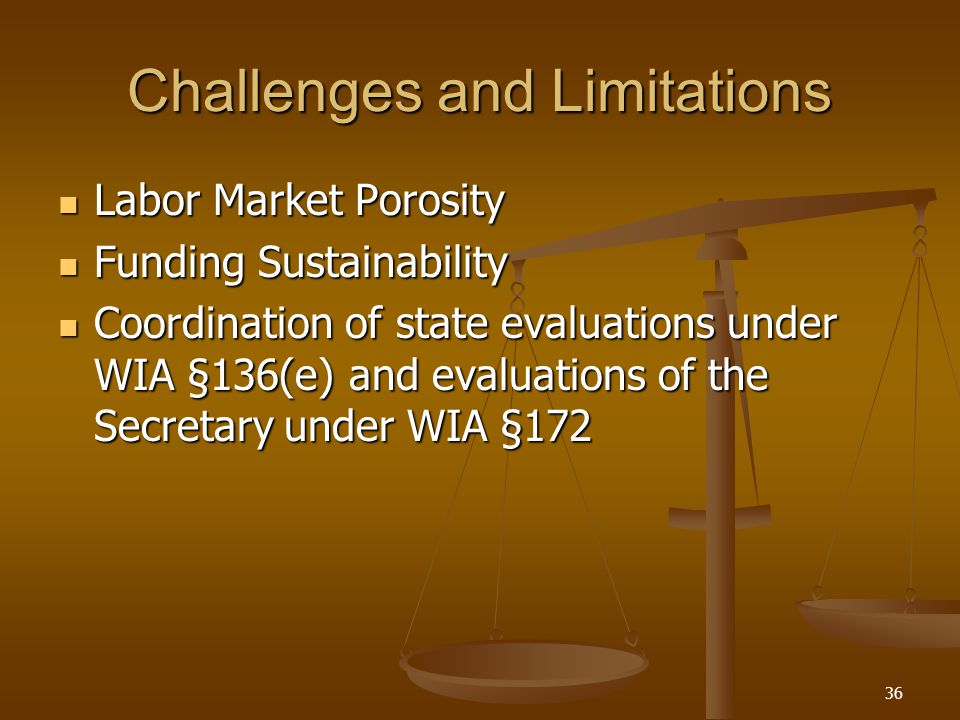 36 Challenges and Limitations Labor Market Porosity Labor Market Porosity Funding Sustainability Funding Sustainability Coordination of state evaluations under WIA §136(e) and evaluations of the Secretary under WIA §172 Coordination of state evaluations under WIA §136(e) and evaluations of the Secretary under WIA §172