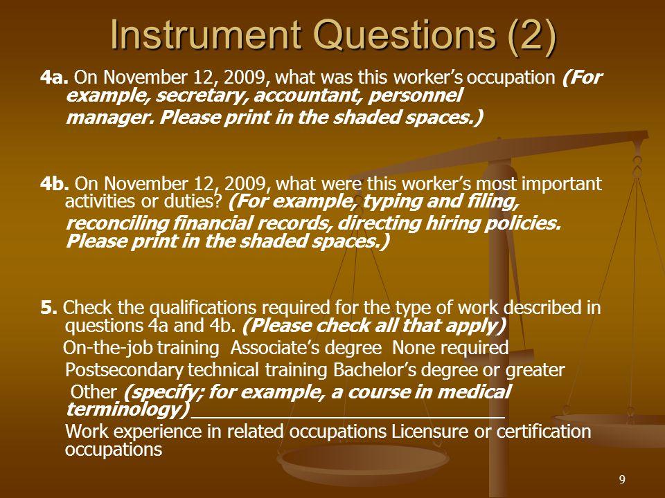 9 Instrument Questions (2) 4a.