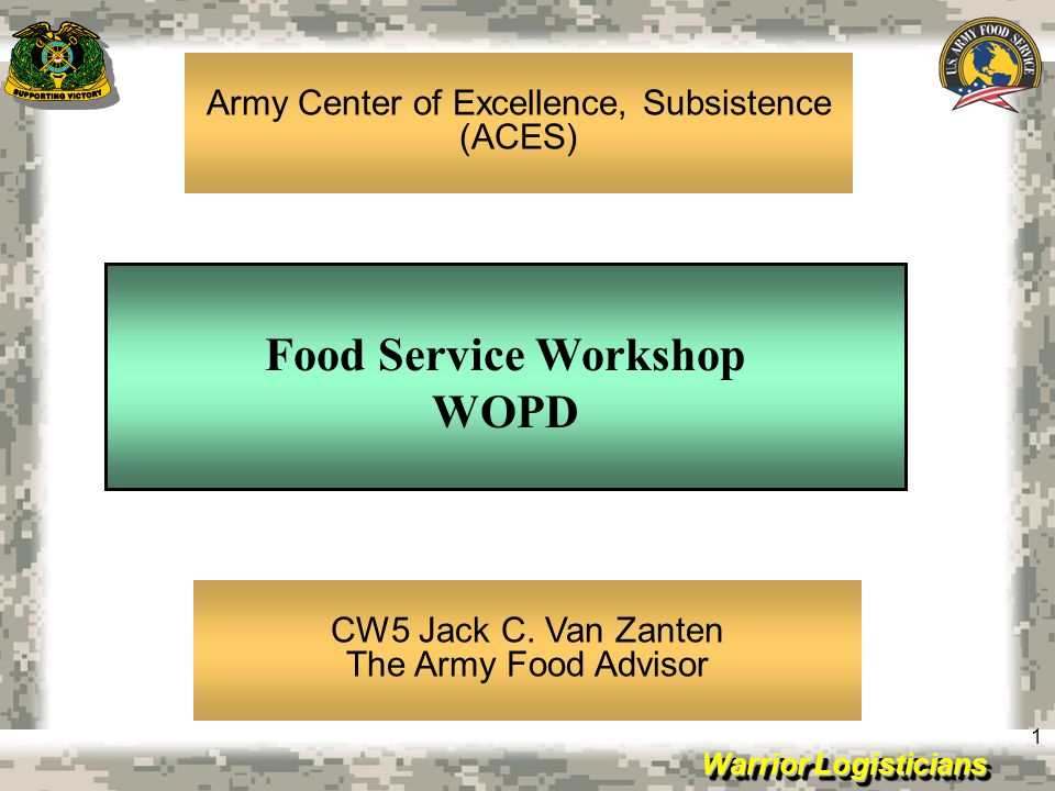 Warrior Logisticians 22 RESERVE COMPONENT FOOD SERVICE TRAINING Host Worldwide Food Service Training Workshops (Every 2 years) Provide Instruction at National, Regional and State Logistic Training Seminars Provide on-site hands-on training unit level and above (FSC, MKT, MBU, CK, RCSS, AFMIS) Provide assistance to Commands Preparing for DA Connelly and Culinary Program