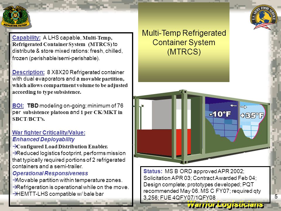 Warrior Logisticians 6 Thermal Fluid Containerized Kitchen (TFCK) Restaurant Style Cooking Appliances Heated by Thermal Fluid Heating System Operates on JP-8 Integrated Food Sanitation Center Tested a APG – Summer 2008 Project Cancelled Due to Numerous Shortfalls Army Center of Excellence, Subsistence (ACES)