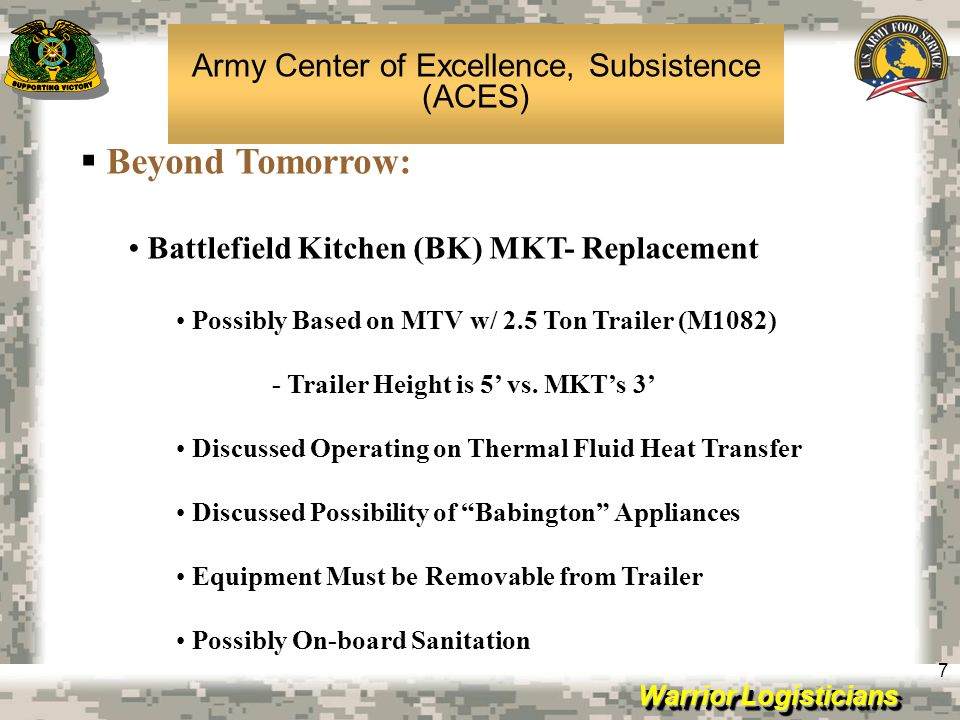 Warrior Logisticians 7 Beyond Tomorrow: Battlefield Kitchen (BK) MKT- Replacement Possibly Based on MTV w/ 2.5 Ton Trailer (M1082) - Trailer Height is