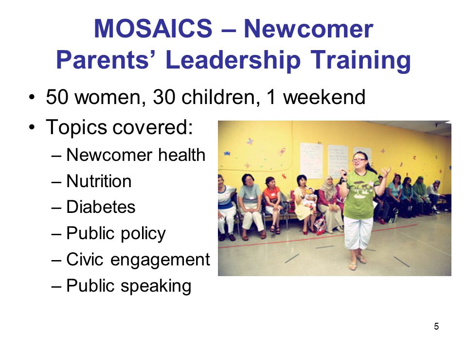 5 MOSAICS – Newcomer Parents Leadership Training 50 women, 30 children, 1 weekend Topics covered: –Newcomer health –Nutrition –Diabetes –Public policy –Civic engagement –Public speaking