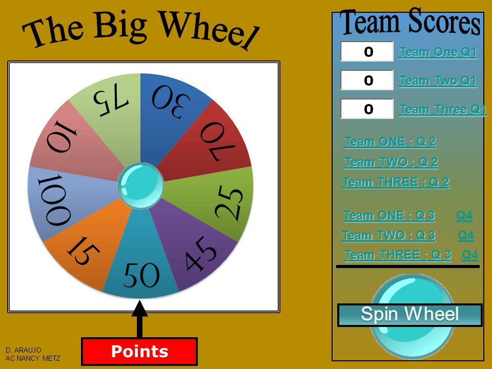 Instructions: 1) Divide into 3 Teams 2) Ask a Question to a Team 3) If correct, click the Spin Wheel Button to choose the number of points that team will receive.