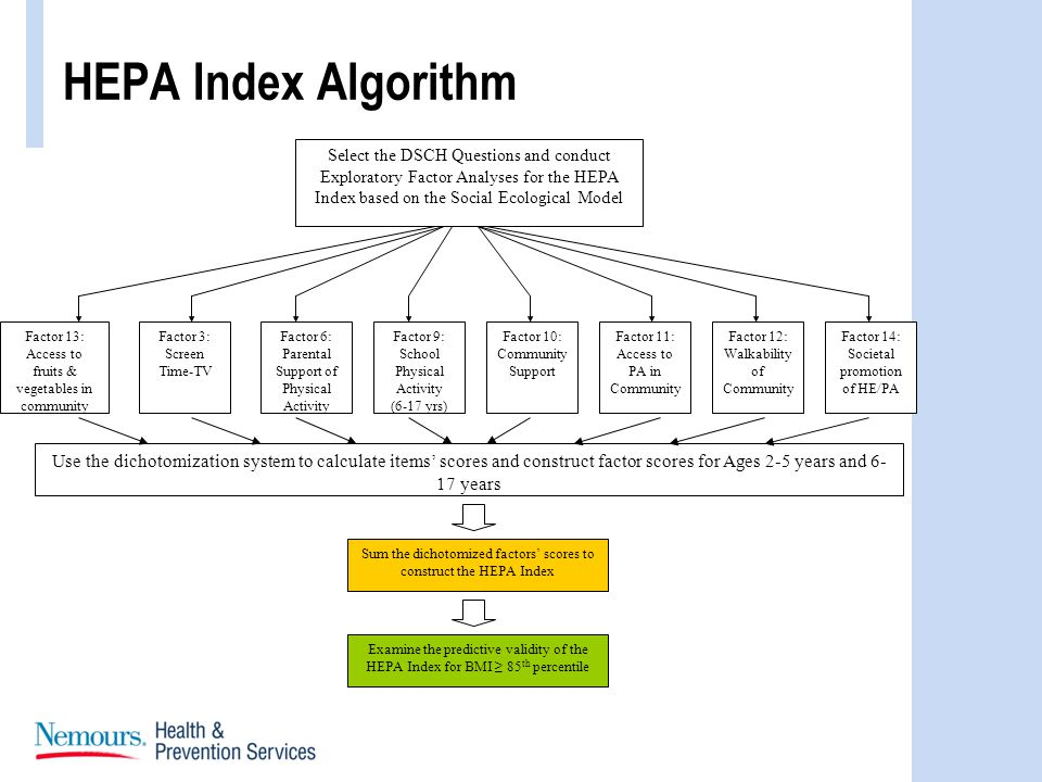 HEPA Index Algorithm Factor 13: Access to fruits & vegetables in community Factor 3: Screen Time-TV Factor 6: Parental Support of Physical Activity Factor 9: School Physical Activity (6-17 yrs) Factor 10: Community Support Factor 11: Access to PA in Community Factor 12: Walkability of Community Use the dichotomization system to calculate items scores and construct factor scores for Ages 2-5 years and 6- 17 years Factor 14: Societal promotion of HE/PA Select the DSCH Questions and conduct Exploratory Factor Analyses for the HEPA Index based on the Social Ecological Model Sum the dichotomized factors scores to construct the HEPA Index Examine the predictive validity of the HEPA Index for BMI 85 th percentile