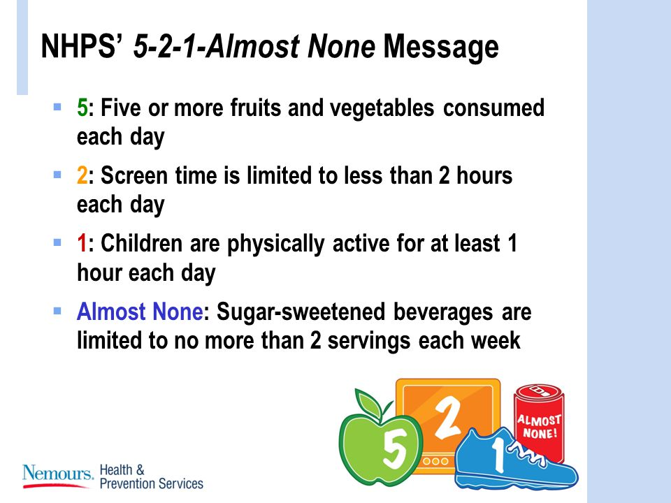 NHPS 5-2-1-Almost None Message 5: Five or more fruits and vegetables consumed each day 2: Screen time is limited to less than 2 hours each day 1: Children are physically active for at least 1 hour each day Almost None: Sugar-sweetened beverages are limited to no more than 2 servings each week