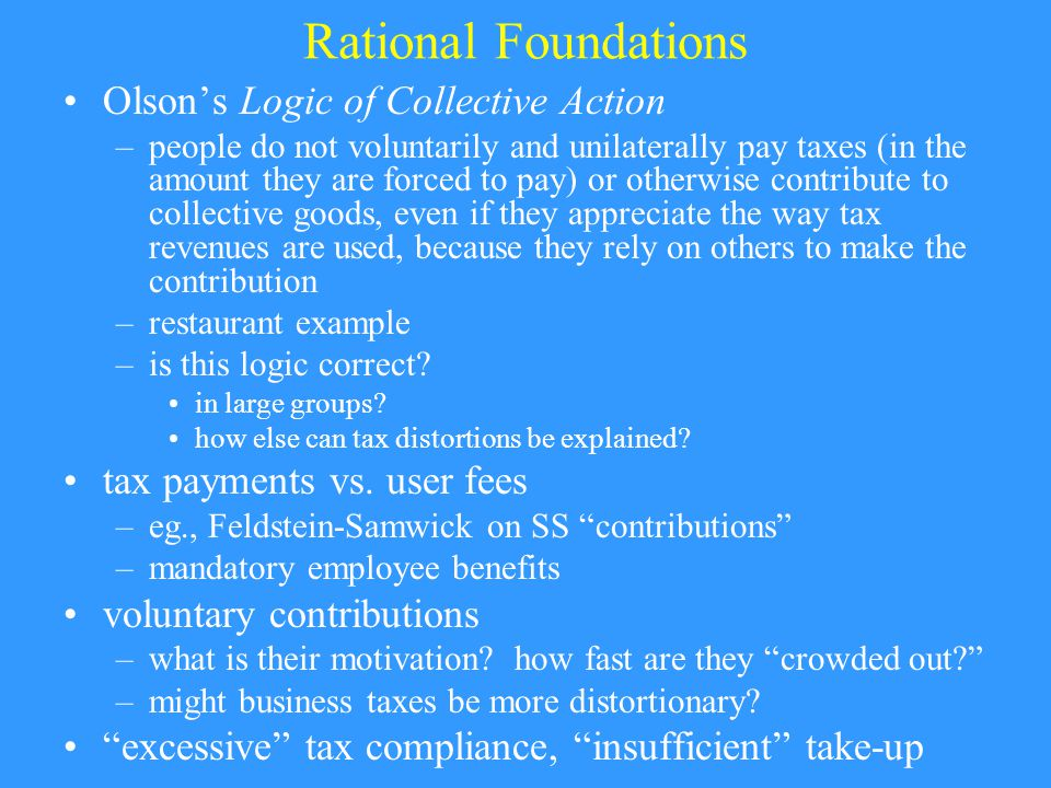Rational Foundations (contd) How complete are markets in Public Finance.