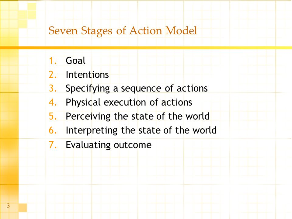3 Seven Stages of Action Model 1.Goal 2.Intentions 3.Specifying a sequence of actions 4.Physical execution of actions 5.Perceiving the state of the wo