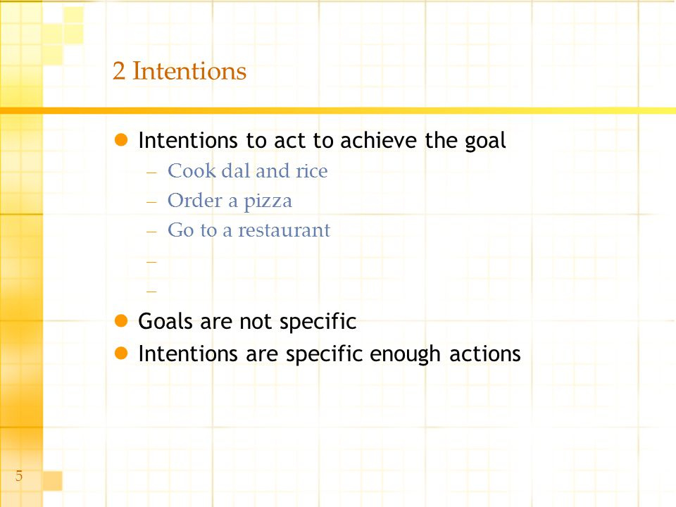 5 2 Intentions Intentions to act to achieve the goal –Cook dal and rice –Order a pizza –Go to a restaurant – Goals are not specific Intentions are spe