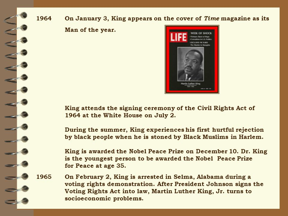 1964On January 3, King appears on the cover of Time magazine as its Man of the year.