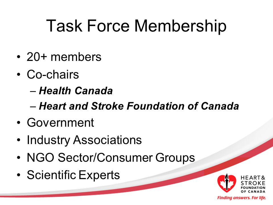 Task Force Membership 20+ members Co-chairs –Health Canada –Heart and Stroke Foundation of Canada Government Industry Associations NGO Sector/Consumer Groups Scientific Experts