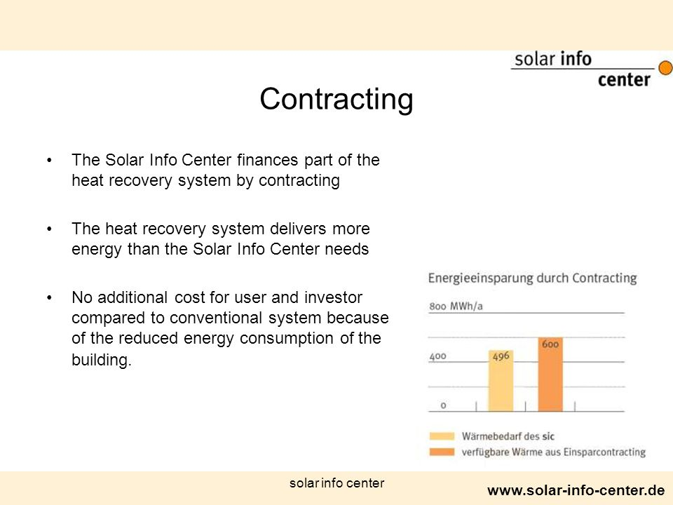 www.solar-info-center.de solar info center Contracting The Solar Info Center finances part of the heat recovery system by contracting The heat recover