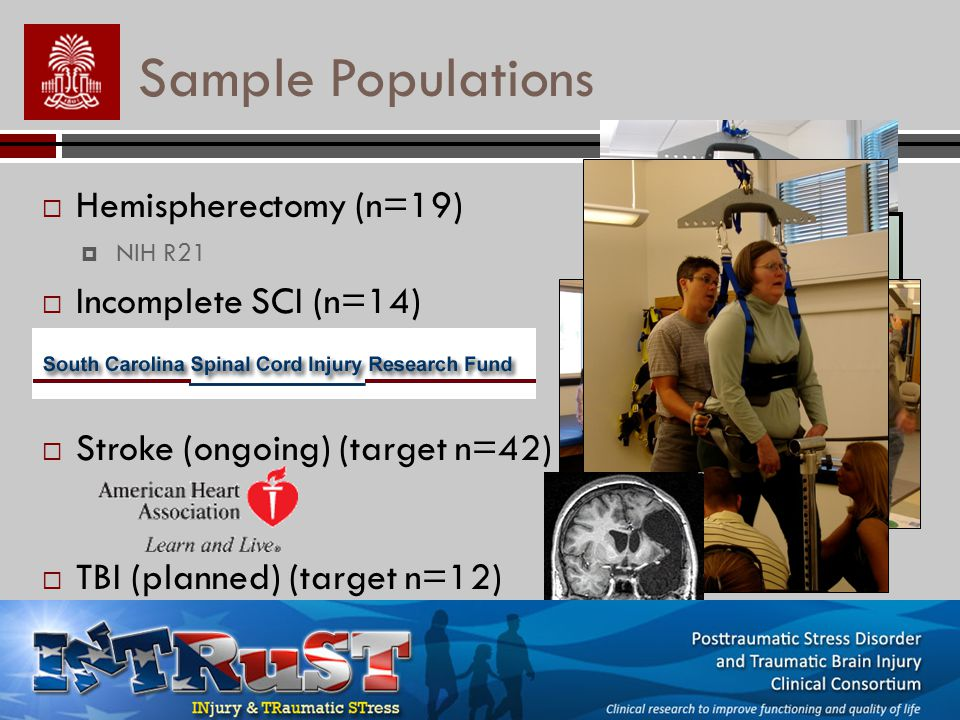 Sample Populations Hemispherectomy (n=19) NIH R21 Incomplete SCI (n=14) Stroke (ongoing) (target n=42) TBI (planned) (target n=12)