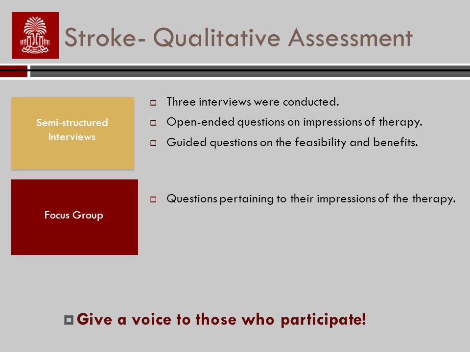 Stroke- Qualitative Assessment Focus Group Questions pertaining to their impressions of the therapy.