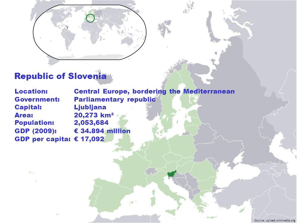 Source: upload.wikimedia.org Location:Central Europe, bordering the Mediterranean Government:Parliamentary republic Capital: Ljubljana Area: 20,273 km