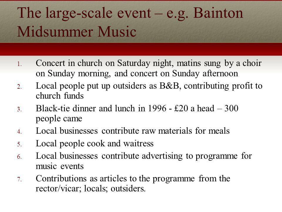The large-scale event – e.g. Bainton Midsummer Music 1.