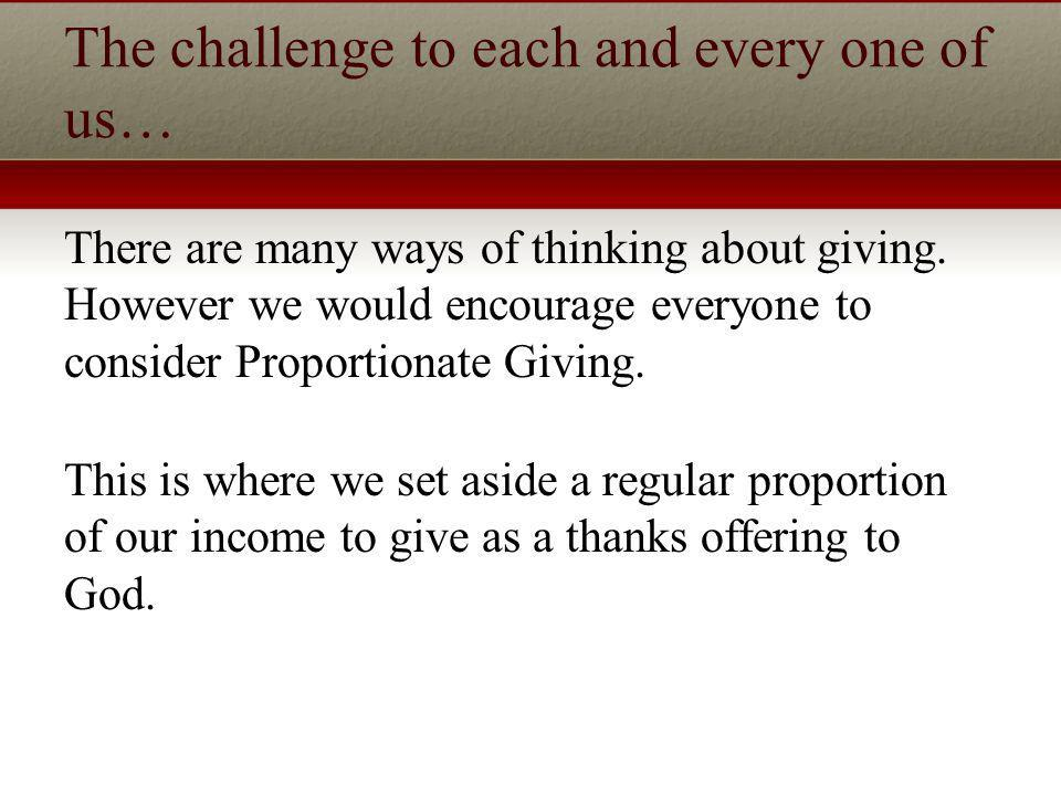The challenge to each and every one of us… There are many ways of thinking about giving.