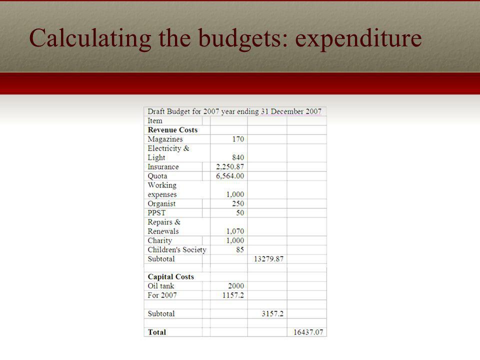 Calculating the budgets: expenditure