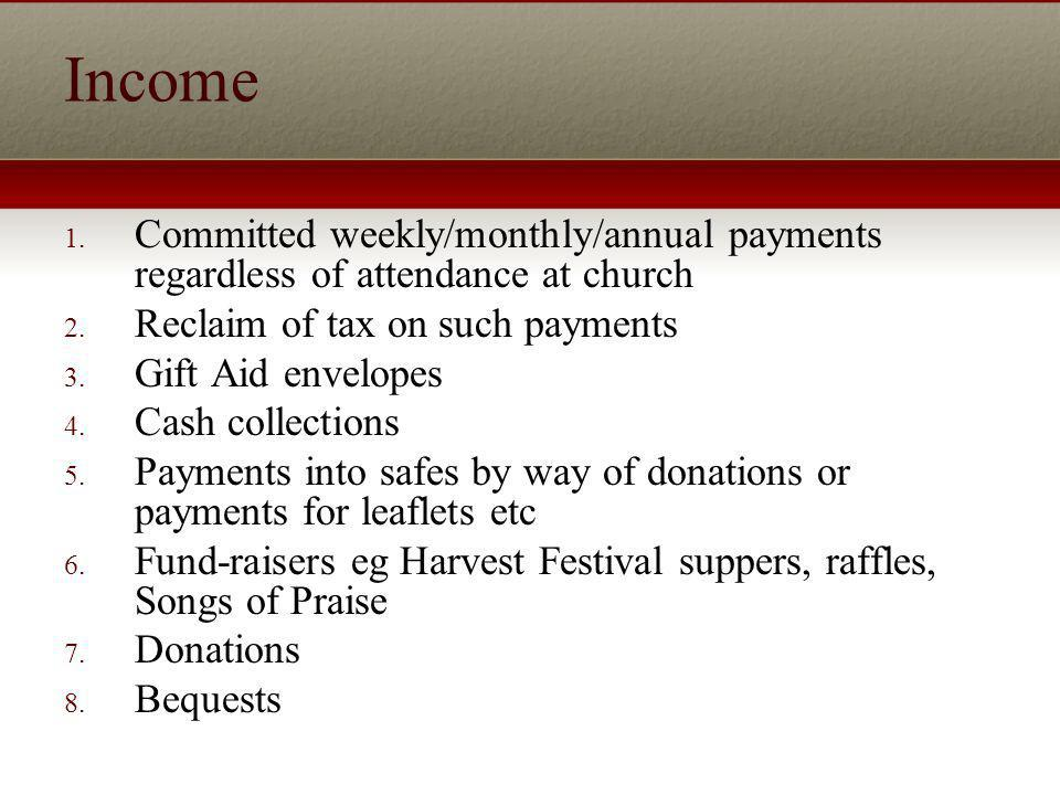Income 1. Committed weekly/monthly/annual payments regardless of attendance at church 2.