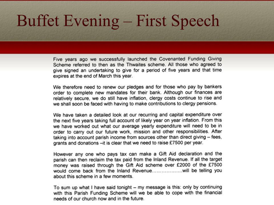 Buffet Evening – First Speech