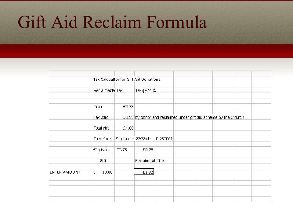Gift Aid Reclaim Formula