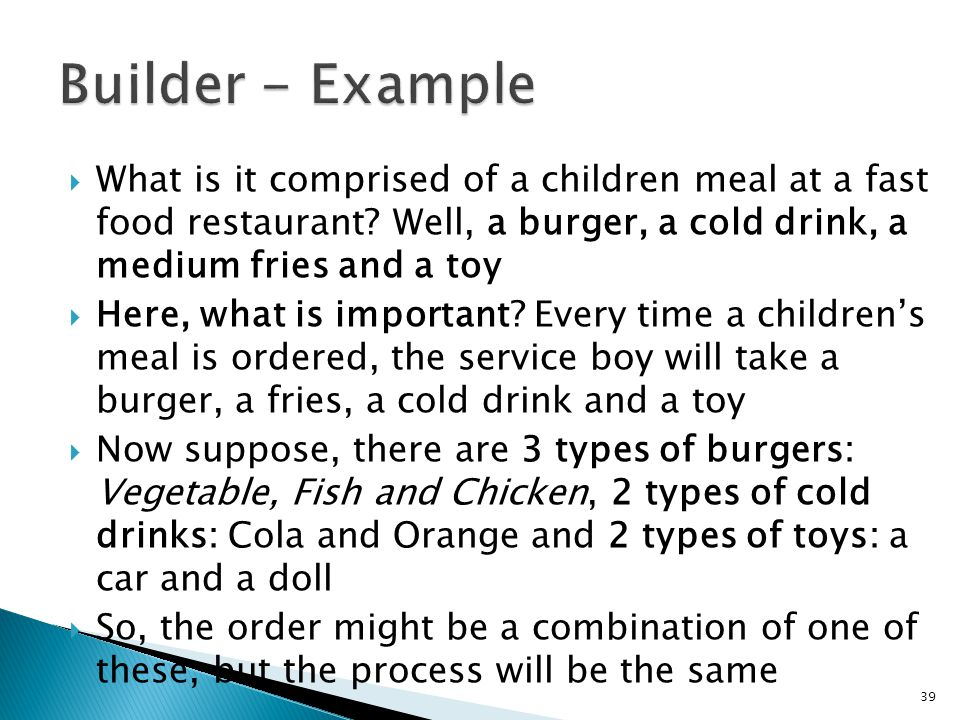 What is it comprised of a children meal at a fast food restaurant.