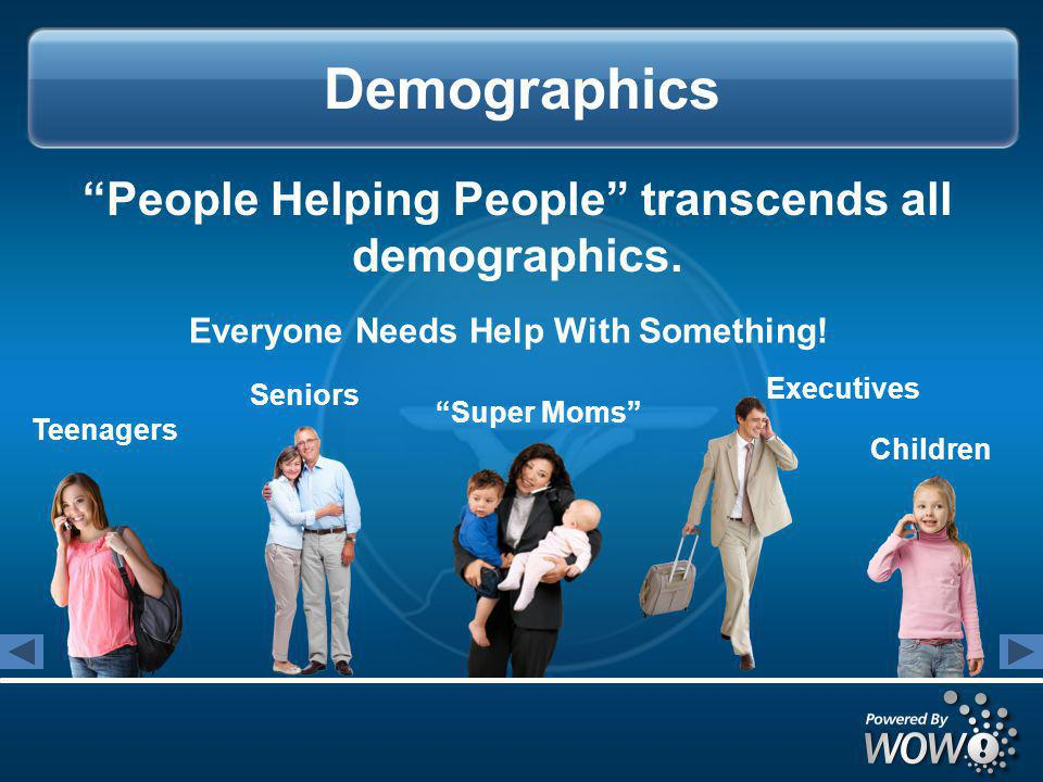 Demographics People Helping People transcends all demographics.