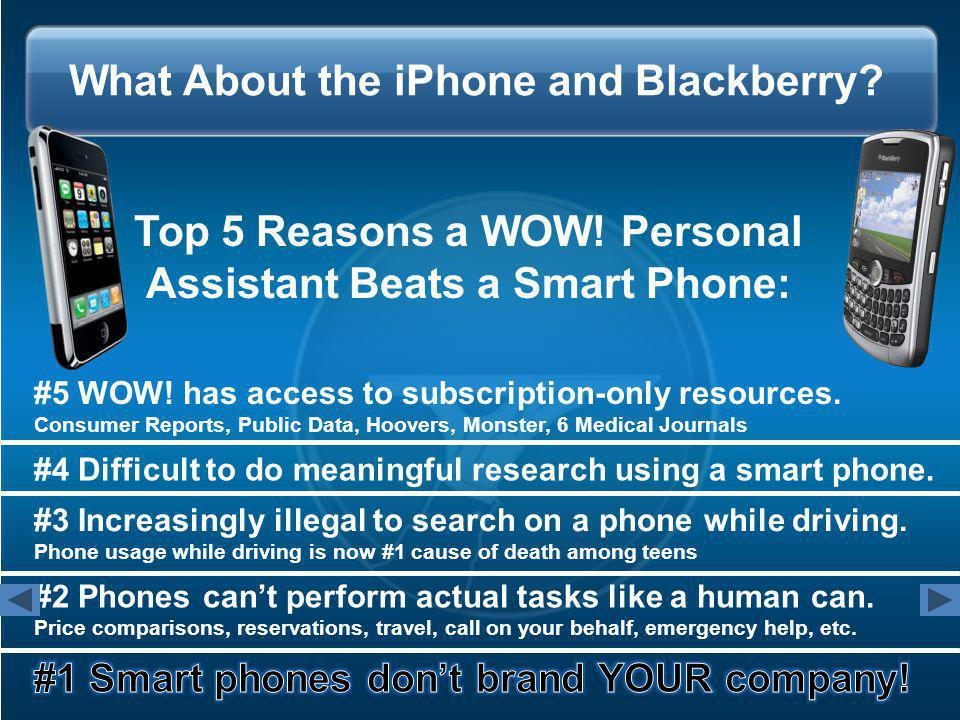 What About the iPhone and Blackberry. Top 5 Reasons a WOW.