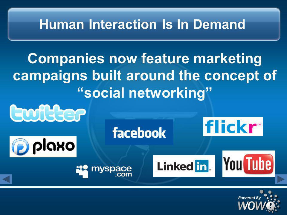Companies now feature marketing campaigns built around the concept of social networking Human Interaction Is In Demand
