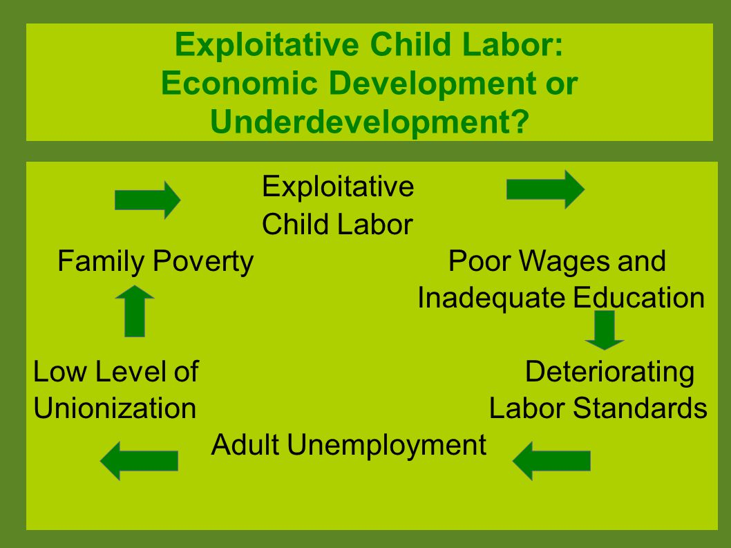 Exploitative Child Labor: Economic Development or Underdevelopment? Exploitative Child Labor Family Poverty Poor Wages and Inadequate Education Low Le