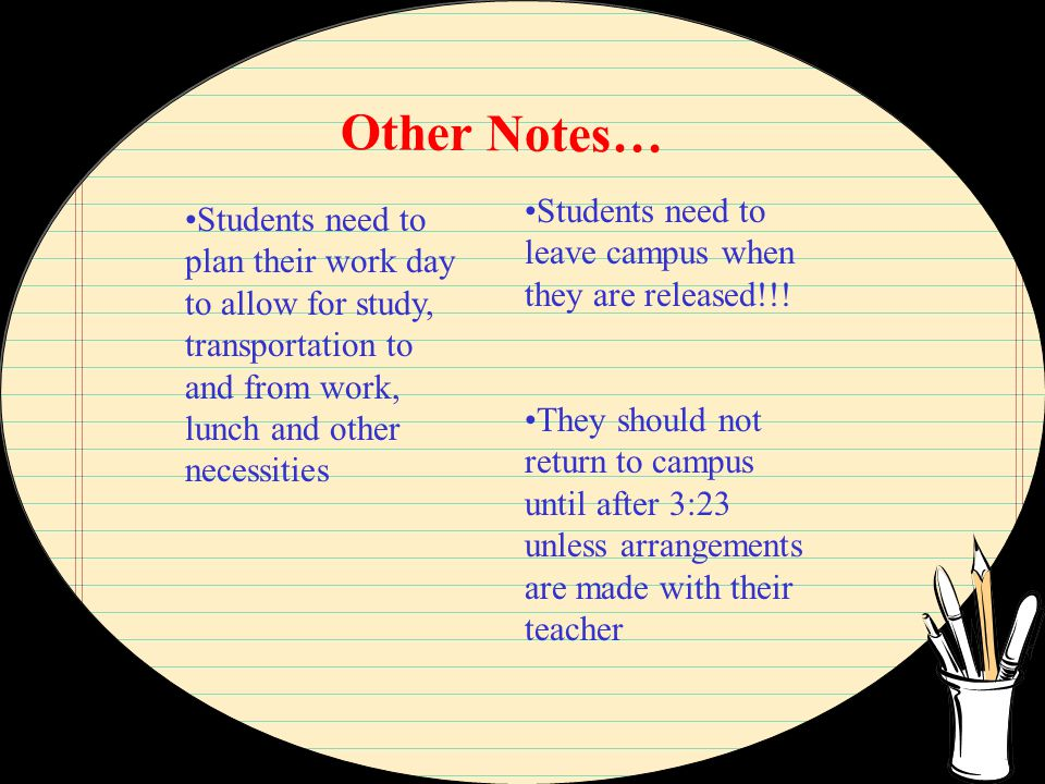 Other Notes… Students need to plan their work day to allow for study, transportation to and from work, lunch and other necessities Students need to leave campus when they are released!!.