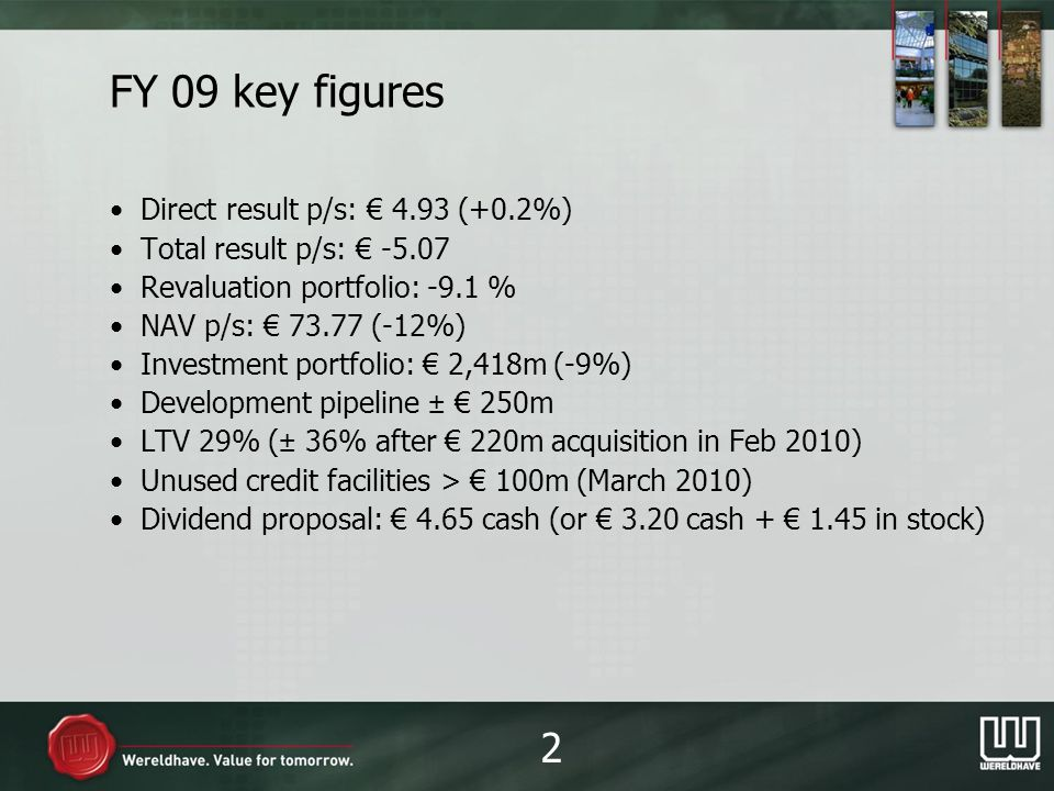 FY 09 highlights New executive board in place Strategy update: balanced growth in core countries and shopping centres, sale of industrials and assets <20m Issue of 230m convertible bond Succesful relettings in Paris, Washington DC and Manchester Development pipeline continues as planned Acquisition of four shopping centres in the Netherlands for 220m in February 2010 3