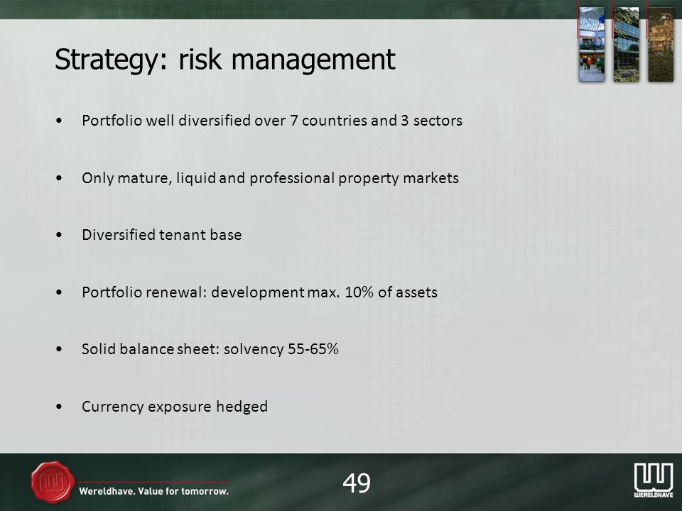 Strategy: risk management Portfolio well diversified over 7 countries and 3 sectors Only mature, liquid and professional property markets Diversified tenant base Portfolio renewal: development max.