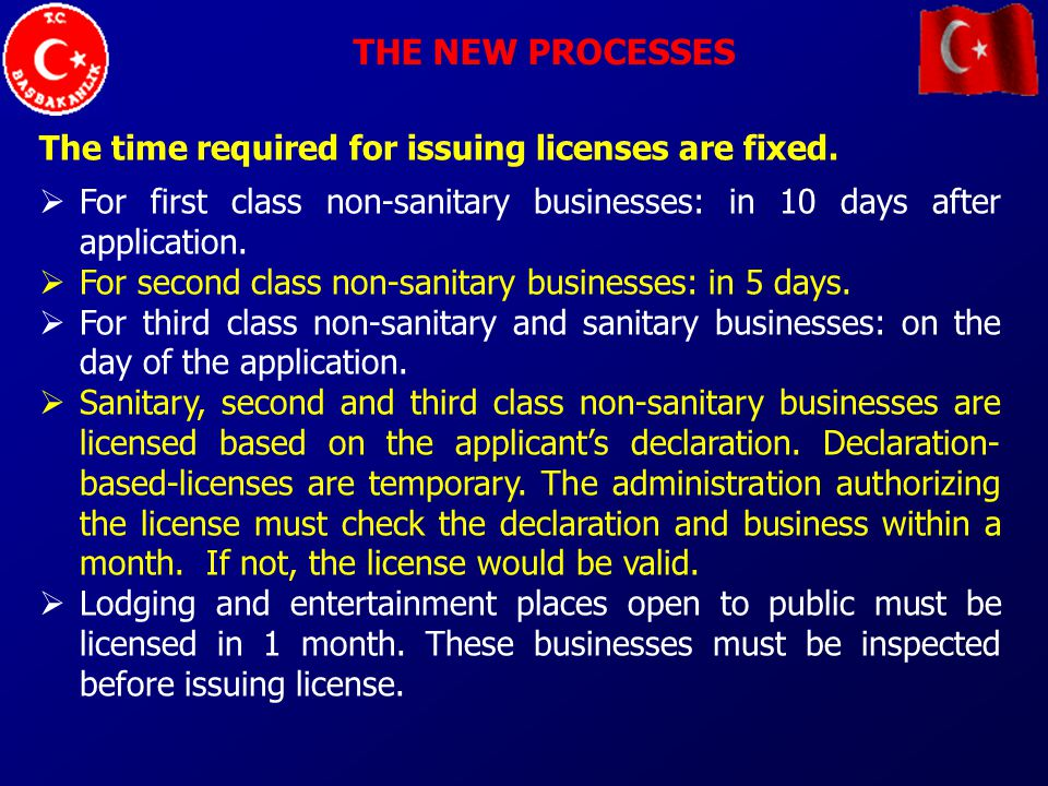 THE NEW PROCESSES The time required for issuing licenses are fixed.