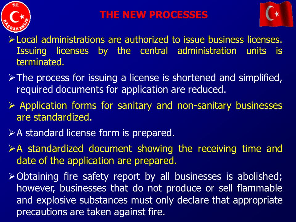 THE NEW PROCESSES For first class non-sanitary businesses, the Environment Impact Analysis must be carried out.