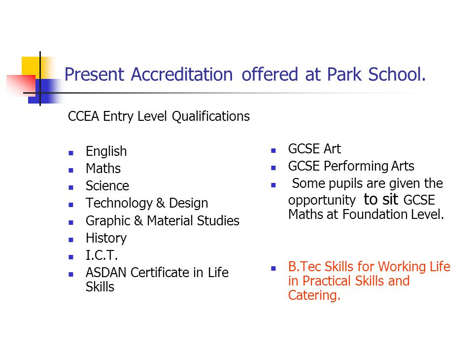 Present Accreditation offered at Park School.