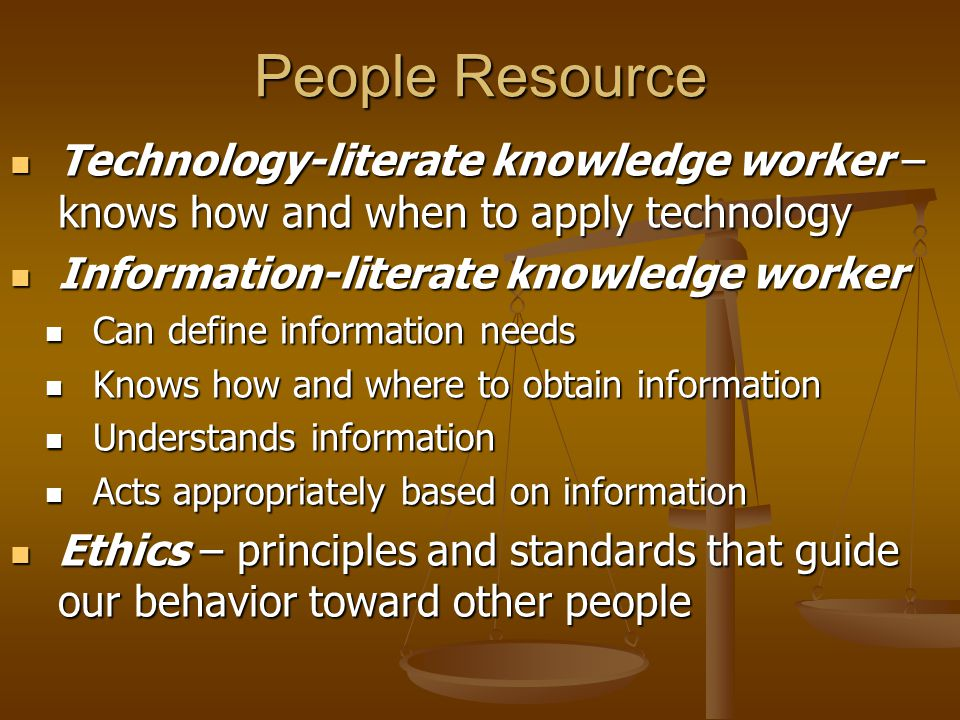 Information Technology Resource Information technology (IT) – computer-based tools that people use to work with information Information technology (IT) – computer-based tools that people use to work with information Hardware – physical devices that make up a computer Hardware – physical devices that make up a computer Software – set of instructions that your hardware executes to carry out a specific task for you Software – set of instructions that your hardware executes to carry out a specific task for you