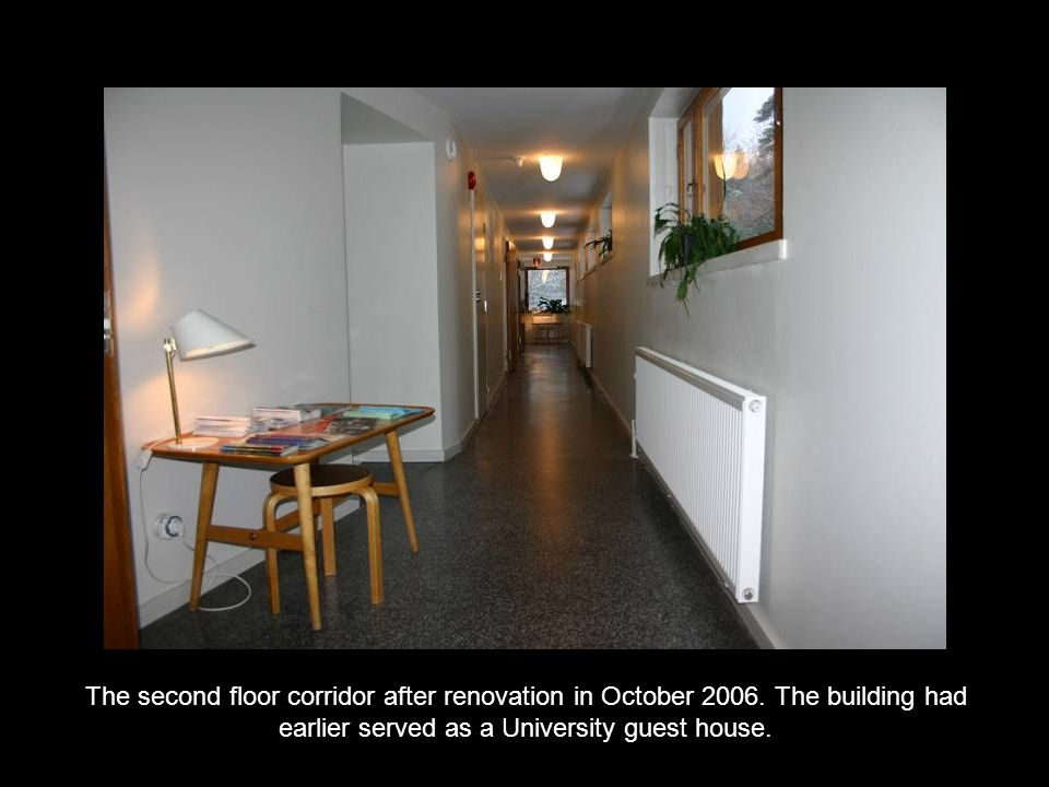 The second floor corridor after renovation in October 2006. The building had earlier served as a University guest house.